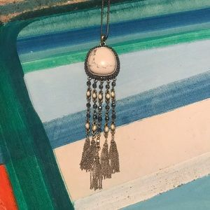 White Marble Long Dangly Necklace